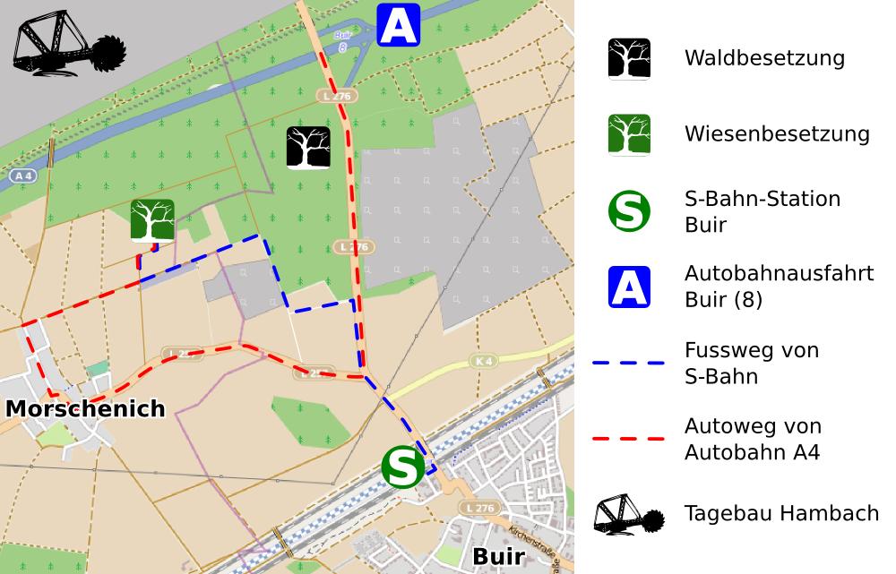 hambacher forst karte Anreise   Hambacher Forst