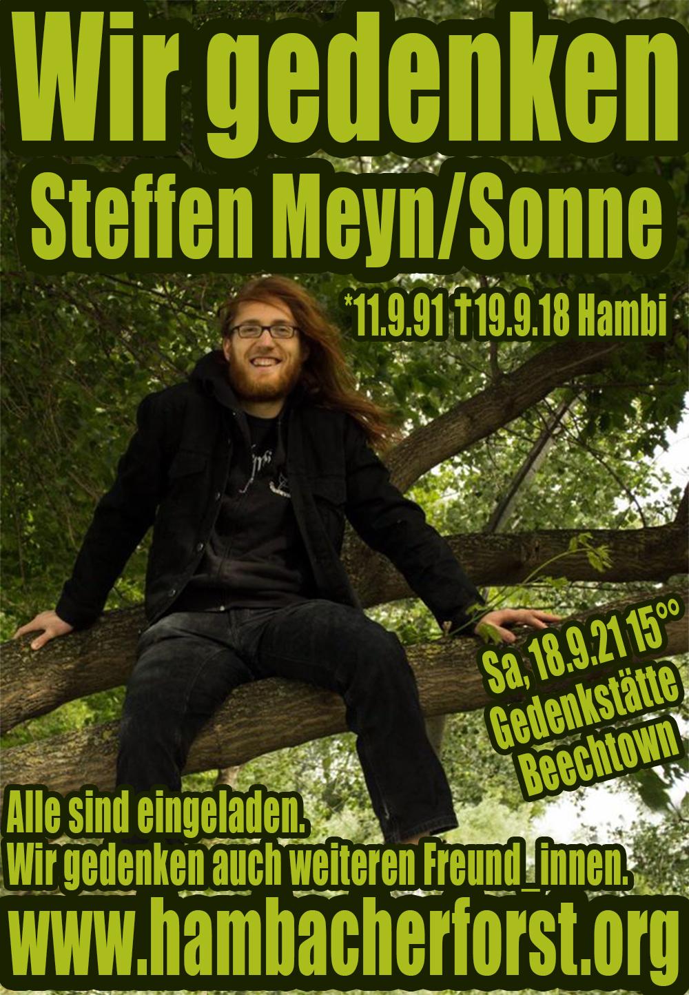 Einladung zum öffentlichen Gedenken für Steffen Meyn/Sonne (Sa, 18.9. 15Uhr)