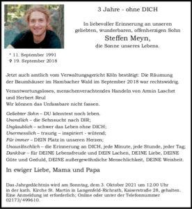 3. Jahrgedächtnis Steffen Meyn /Sonne